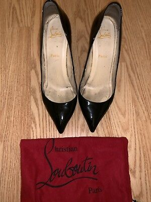 newest d382a 082ed CHRISTIAN LOUBOUTIN PIGALLE 85mm Black Patent Leather Heels Sz 40