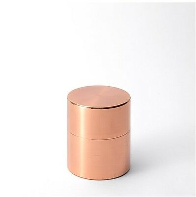 Kaikado Copper Tea Caddy Canister Chazutsu Wide 200g with Scoop Hand Made Japan