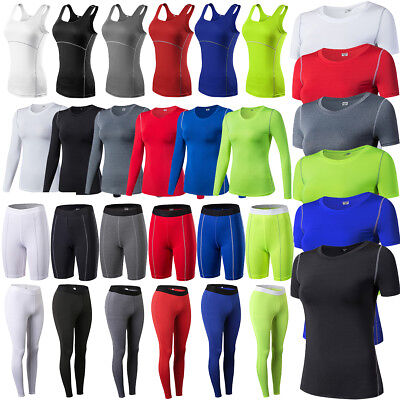 AU Womens Compression Base Layer Armour Tank Top Thermal T-shirts Shorts Pants