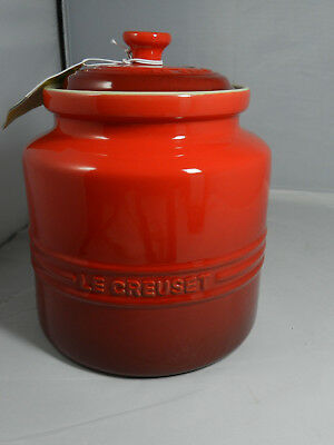 LE CREUSET STONEWARE COOKIE JAR Cherry Red Cerise 4 QT  NEW Rare