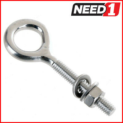 10 x Stainless Steel Eye Bolts with Nut & 2 Washers, Size: 6x40mm, Grade 304