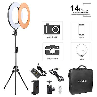 Double Way 14inch Dimmable ZOMEI LED Ring Light & Foldable Tripod Stand PP