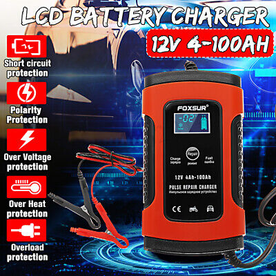 12V 5A Pulse Red Repair Charger For Car Motorcycle AGM GEL WET Lead Acid Battery