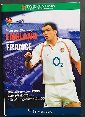 ENGLAND v FRANCE 2003 WORLD CUP WARM-UP, RUGBY PROGRAMME , Martin Johnson