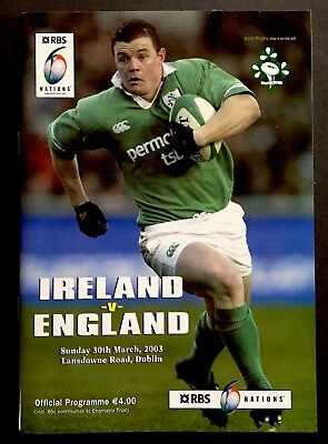 IRELAND V ENGLAND 2003 GRAND SLAM SIX NATIONS RUGBY PROGRAMME , Dublin