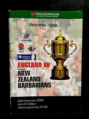 ENGLAND v NEW ZEALAND BARBARIANS 2003 RUGBY PROGRAMME ,Rugby World Cup Champions