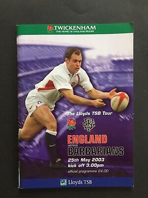 ENGLAND v BARBARIANS 2003 RUGBY PROGRAMME, World Cup Warm-up