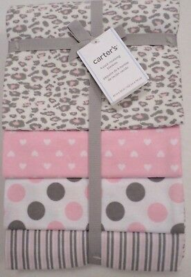 Carter's Baby Girls 4 Pack Flannel Receiving Blankets Cheetah/Hearts/Dots 40x30