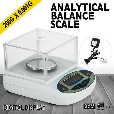 200 / 0.001g 0.1mg Digital Precision Scale Lab Analytical Balance Top Quality