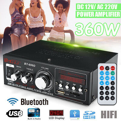 360W Digital HIFI Stereo Amplifier Bluetooth Audio AMP USB SD Aux 2CH Car Home
