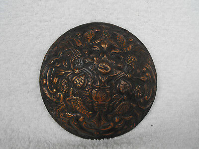 Ancient Old Hand Made Copper Appliqué 1800s Piece of Art Flowers and Birds #1213