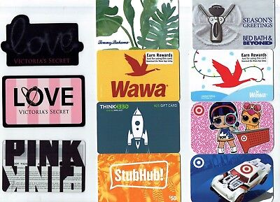 Collectible Gift Card - YOU CHOOSE 3 for $1.59 - Wawa, Victoria's Secret, Bahama