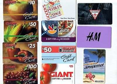 Collectible Gift Card - YOU CHOOSE 3 for $1.59 - Giant, Hollister, Goody's,Guess