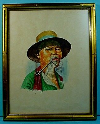 Vintage Lakhon Charoen Watercolor 'Old Man Smoking Pipe' Portrait Painting
