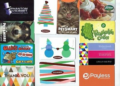 Collectible Gift Card - YOU CHOOSE 3 for $1.59 - Perkins,Publix,Old Navy,Ollie's