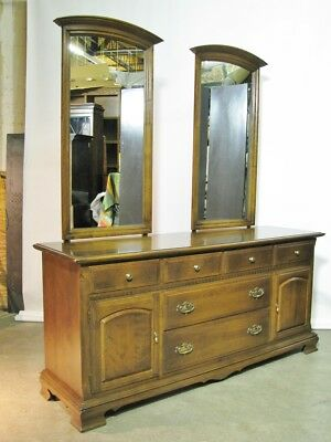 """Vintage Ethan Allen """"Classic Manor"""" Eight Drawer Triple Dresser Two Mirrors 72"""""""