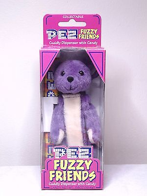 Pez Fuzzy Friends Gilbert Bear Cuddy Dispenser With Backpack Clip