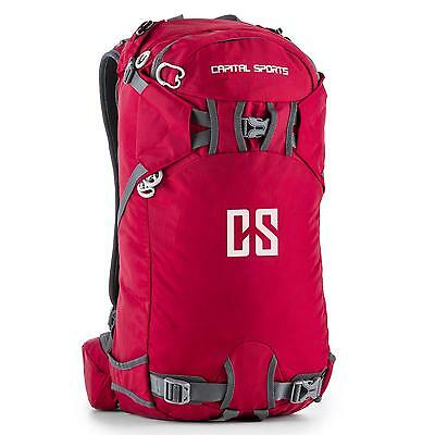 Sac A Dos Rouge 30L Capital Sports Randonnee  Marche Ergonomique Nylon Etanche