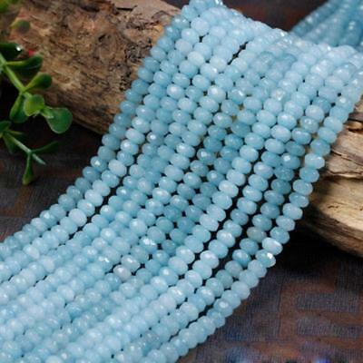 4x6mm Blue Aquamarine Faceted Roundel Gems Loose Beads 15'' AAA