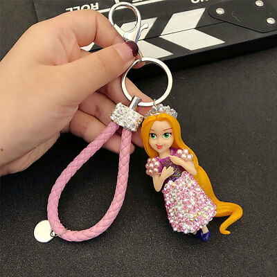 Tangled Rapunzel Princess Keychain Key Ring Crystal Charm Rhinestone Bag Pendant