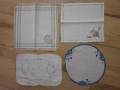 Lot of Four Vintage Ivory Linen Napkins and Dolies Picot Embroidery Applique
