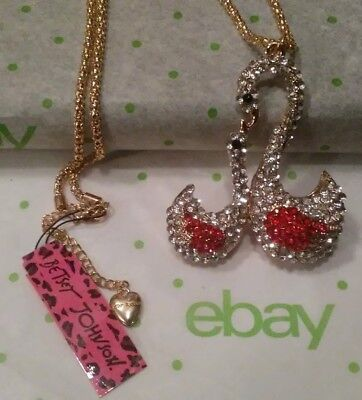 Betsey Johnson Mother & Baby Swan Adjustable Sweater Necklace Christmas Gift