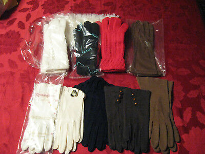 Vintage Ladies knitted gloves and scarf, cotton, leatherette glove lot