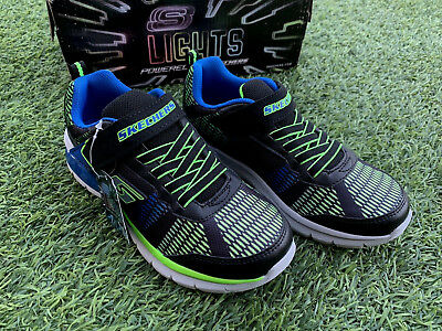14e9038a187421 Skechers Boy s Light Up Shoes Black Blue Lime Erupters II Lava Wave Sneakers  NEW