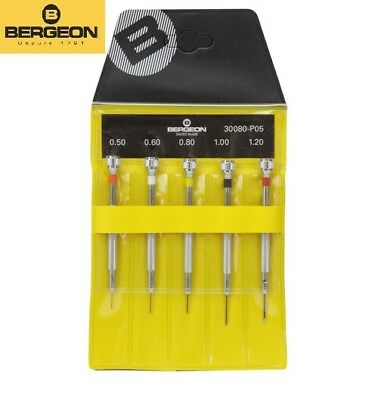 Bergeon 30080-P05 (2868) Set of 5 Watchmaker's Chrome Plated Brass Screwdrivers