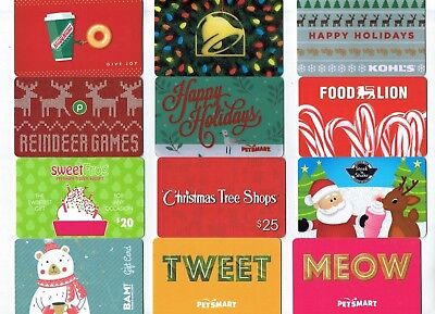 Collectible Gift Card - YOU CHOOSE 3 for $1.59 -Taco Bell,Petsmart,Steak n Shake