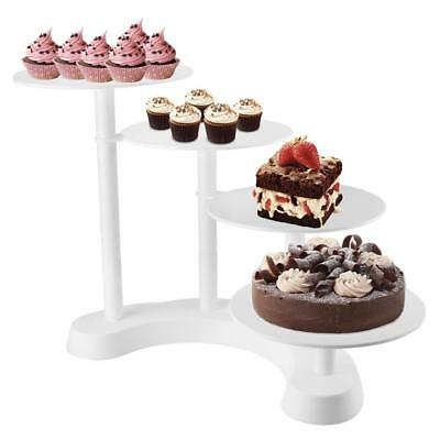 Torta Stand 4 Tier compleanno Wedding Party Cake Stand Bianco Alimentari...