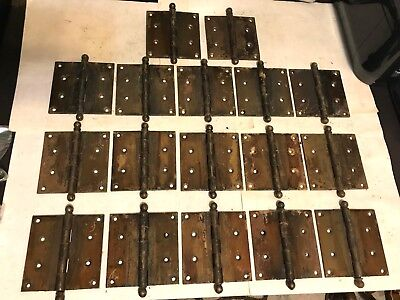 "17 Antique Arts Craft Deco Victorian Brass Plate 4 1/2"" Ball Top Tip Door Hinges"