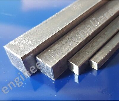 "Square Bright Mild Steel Rod Bar EN3B 3/16"", 1/4"", 3/8"" & 1/2"", 100 - 600mm long"