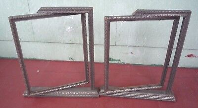 Antique ART DECO SIDE SWING STANDING ornate silver wood frame pair  9x7