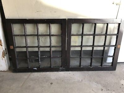 "2 SHABBY 28 x 28"" ANTIQUE 16 LITE PANE FLAT GLASS WOOD MULLION WINDOWS PICKUP"