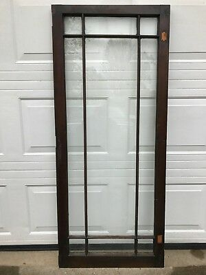 "ANTIQUE 9 PANE LITE GLASS WOOD MULLION 57 1/2 x 24 3/8"" TOWNHOUSE TRANSOM WINDOW"