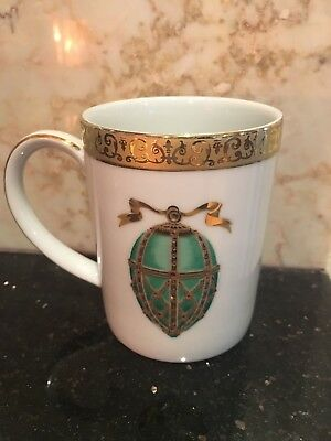 Gold Buffet Royal Gallery Faberge Egg Tea Cup Mug Green Gold Trim Sri Lanka