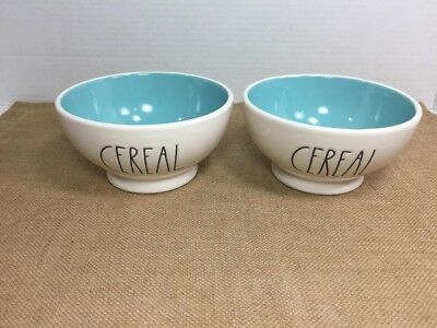 NEW! Set of 2 Rae Dunn by Magenta Soup Cereal Bowls with Teal Blue Interior