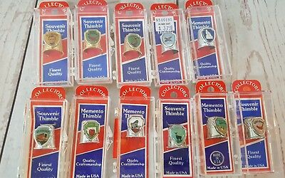 Collectors Souvenir Sewing Thimbles Lot of 11 State vacation silver and gold E1