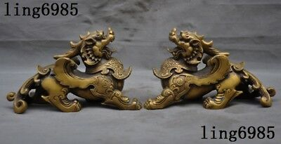 antique Chinese Bronze fengshui animal Wing Brave troops Pixiu beast statue pair