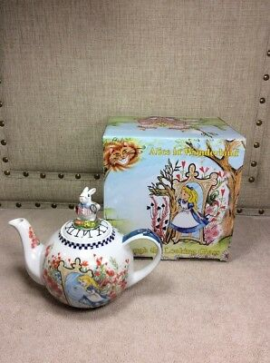 "NEW! Alice In Wonderland CARDEW TEA POT ""Through The Looking Glass"" Figural Lid"
