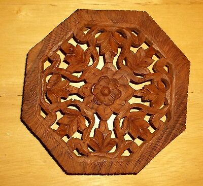 """Hand Carved 6"""" Wood Floral Wooden Footed Trivet Kitchen Stand Coaster India"""