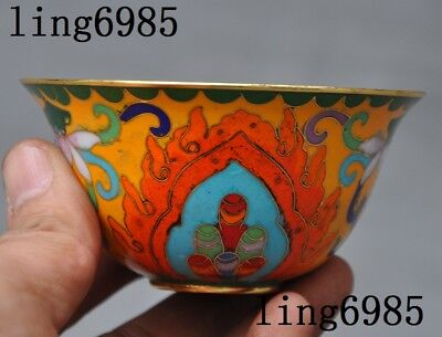Collect Old Chinese bronze Cloisonne auspicious flowers statue bowl cup bowls