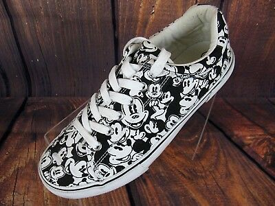 e7d04a6907b997 Disney Women s Sneakers Tennis Shoes White Black Mickey Mouse Canvas 10M