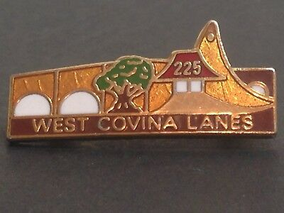 Vintage 225 West Covina Lanes Bowling Lapel Hat Pin Tie Tac Tack Badge
