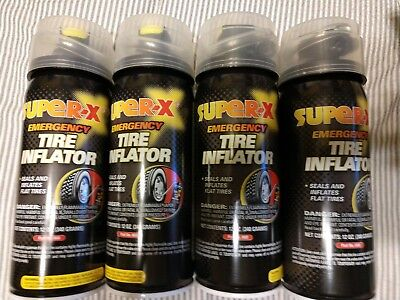 4 cans Super-X  Emergency Tire Inflator - 12oz 660 4x with hose