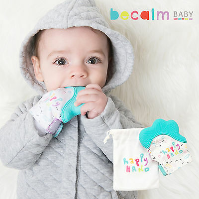 Becalm Baby® Teething Mitten Mitt Glove Silicone Teether Happy Hand