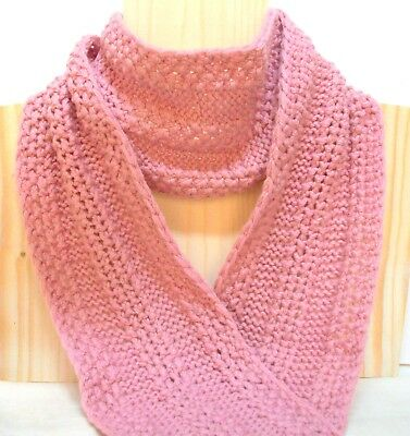 New Winter Hand Knitted Pink Pure Wool Scarf Extra Long 74""