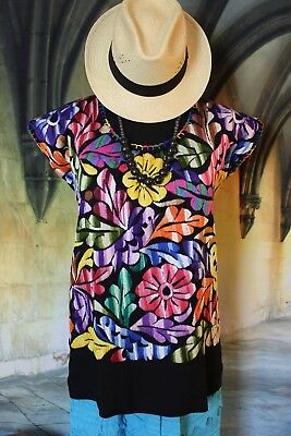 M/L Hand Embroidered Huipil Blouse Mulit-Color Jalapa Oaxaca Mexican Fiesta Boho