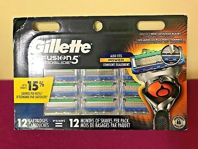 Gillette Fusion 5 Proglide 12 Cartridges, New/Sealed Box, Free Shipping